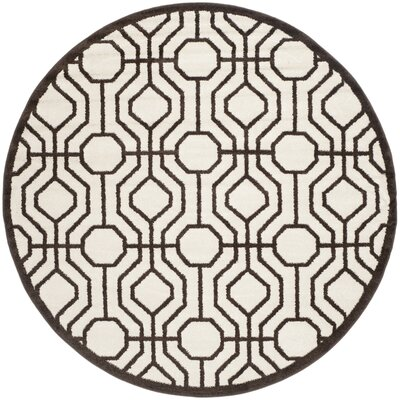 Currey Ivory/Brown Outdoor Area Rug Rug Size: Round 7