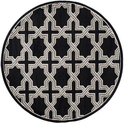 Maritza Anthracite/Grey Area Rug Rug Size: Round 7