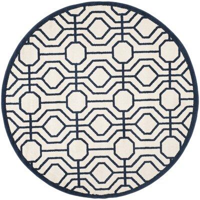 Maritza Ivory/Navy Outdoor Area Rug Rug Size: Round 7