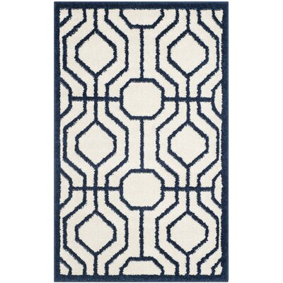 Maritza Ivory/Navy Outdoor Area Rug Rug Size: Rectangle 26 x 4