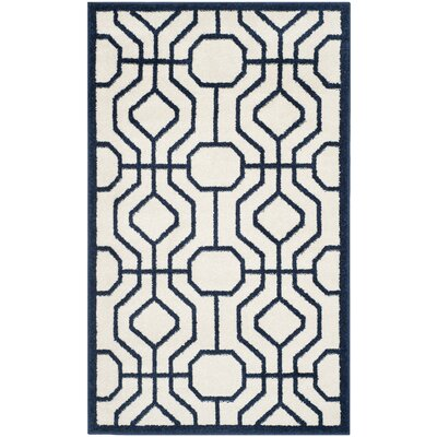 Maritza Ivory/Navy Outdoor Area Rug Rug Size: Rectangle 5 x 8