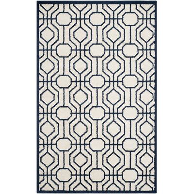 Maritza Ivory/Navy Outdoor Area Rug Rug Size: Rectangle 6 x 9