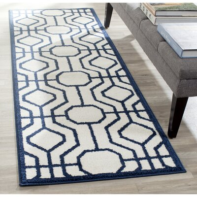Currey Ivory/Navy Outdoor Area Rug Rug Size: Runner 23 x 7
