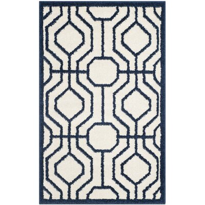 Currey Ivory/Navy Outdoor Area Rug Rug Size: 3 x 5