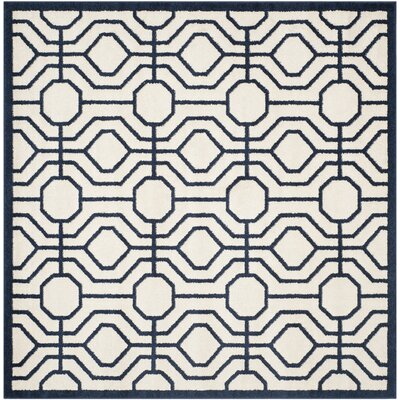 Maritza Ivory/Navy Outdoor Area Rug Rug Size: Square 7