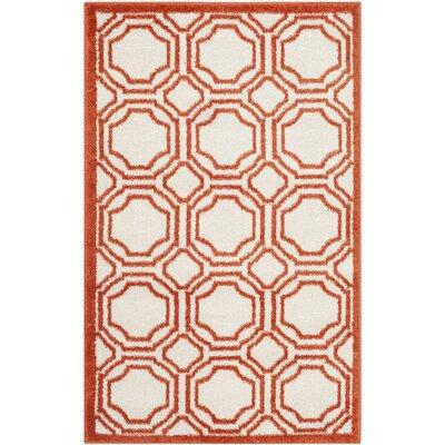 Currey Ivory/Orange Outdoor Area Rug Rug Size: 26 x 4
