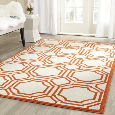 Maritza Ivory/Orange Outdoor Area Rug Rug Size: Round 5