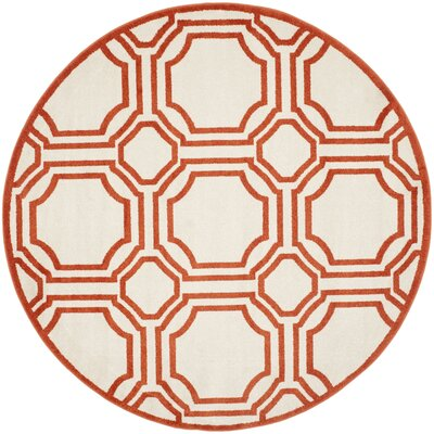 Maritza Ivory/Orange Indoor/Outdoor Area Rug Rug Size: Round 7