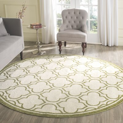 Maritza Ivory/Light Green Indoor/Outdoor Area Rug Rug Size: Round 7