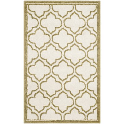Maritza Ivory/Light Green Indoor/Outdoor Area Rug Rug Size: Rectangle 26 x 4
