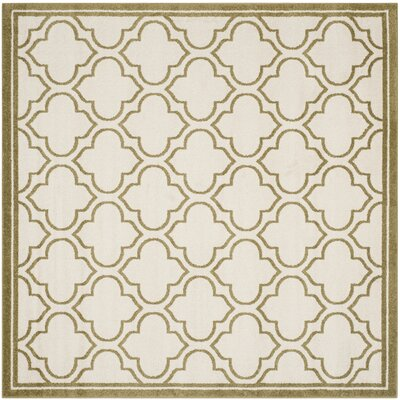 Maritza Ivory/Light Green Outdoor Area Rug Rug Size: Square 7