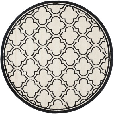 Maritza Ivory/Anthracite Outdoor Area Rug Rug Size: Round 7
