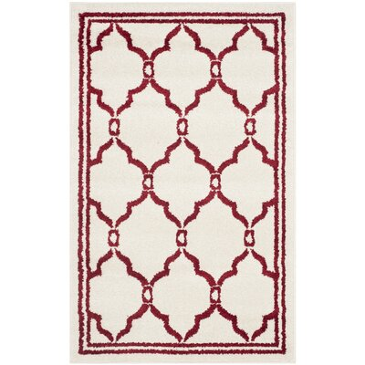 Currey Ivory/Red Outdoor Area Rug Rug Size: 26 x 4