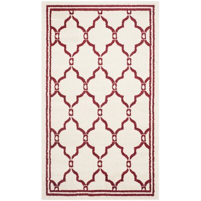 Maritza Ivory/Red Outdoor Area Rug Rug Size: 3 x 5