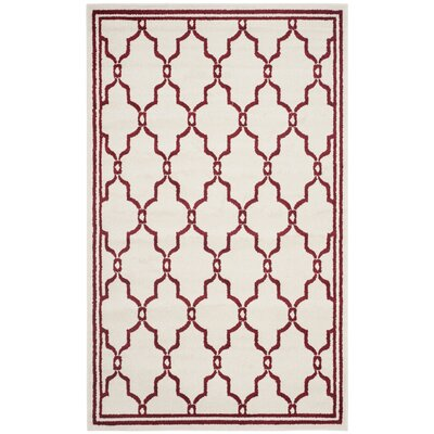 Maritza Ivory/Red Indoor/Outdoor Area Rug Rug Size: Rectangle 5 x 8
