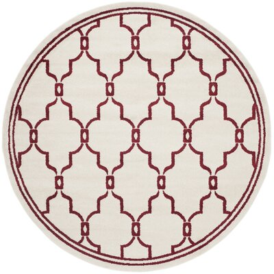 Maritza Ivory/Red Indoor/Outdoor Area Rug Rug Size: Round 7