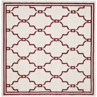 Maritza Ivory/Red Indoor/Outdoor Area Rug Rug Size: Square 7