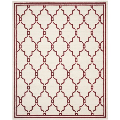 Maritza Ivory/Red Indoor/Outdoor Area Rug Rug Size: Rectangle 9 x 12