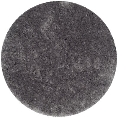 Dax Shag Hand-Tufted Gray Area Rug Rug Size: Round 5