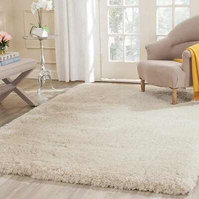 Dax Shag Hand-Tufted Beige Area Rug Rug Size: Rectangle 6 x 9