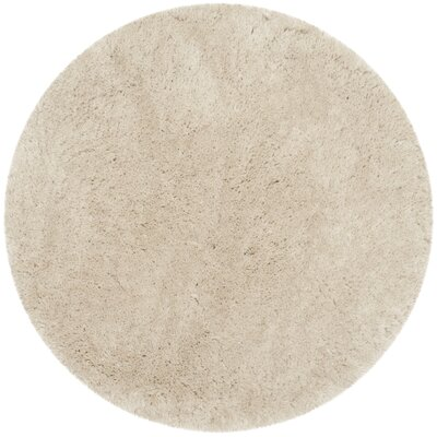 Dax Shag Hand-Tufted Beige Area Rug Rug Size: Round 5