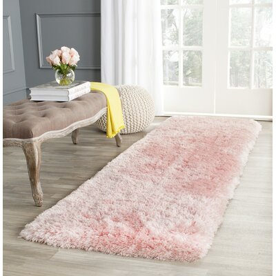 Dax Shag Hand-Tufted Pink Area Rug Rug Size: Runner 23 x 8