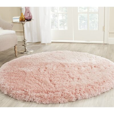 Dax Shag Hand-Tufted Pink Area Rug Rug Size: Round 5