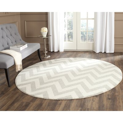 Currey Light Grey/Beige Area Rug Rug Size: Round 5