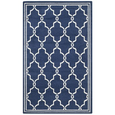 Maritza Navy/Beige Indoor/Outdoor Area Rug Rug Size: 5 x 8