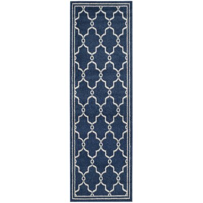 Maritza Navy/Beige Indoor/Outdoor Area Rug Rug Size: Runner 23 x 11