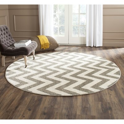 Currey Dark Gray/Beige Indoor/Outdoor Area Rug Rug Size: Round 7
