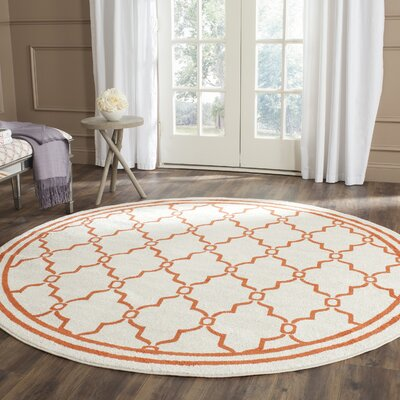 Maritza Beige/Orange Indoor/Outdoor Area Rug Rug Size: Round 7