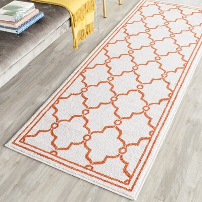 Maritza Beige/Orange Indoor/Outdoor Area Rug Rug Size: Runner 23 x 7