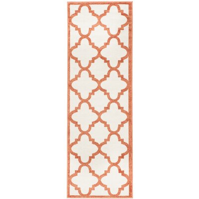 Maritza Geometric Beige/Orange Indoor/Outdoor Area Rug Rug Size: Runner 23 x 11