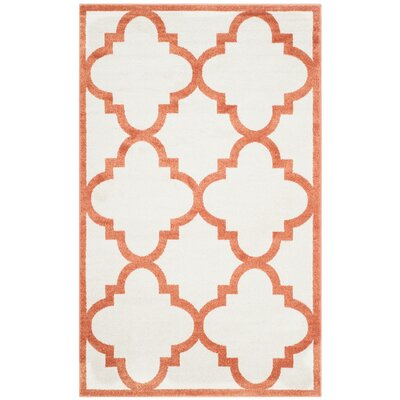 Maritza Geometric Beige/Orange Indoor/Outdoor Area Rug Rug Size: 3 x 5