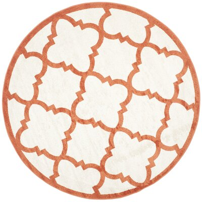 Maritza Geometric Beige/Orange Indoor/Outdoor Area Rug Rug Size: Round 7
