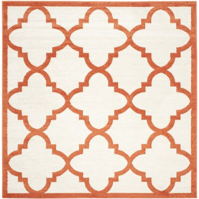 Maritza Geometric Beige/Orange Indoor/Outdoor Area Rug Rug Size: Square 7