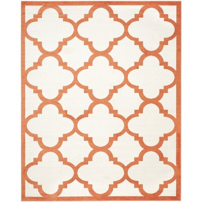 Maritza Geometric Beige/Orange Indoor/Outdoor Area Rug Rug Size: 9 x 12
