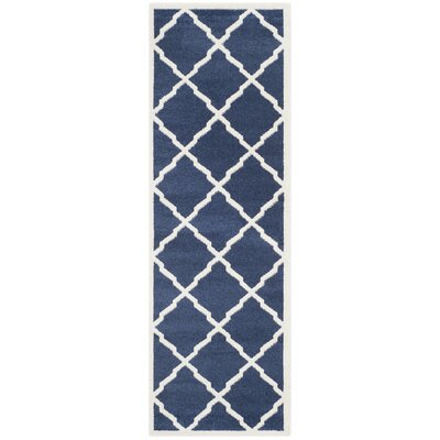Maritza Navy/Beige Indoor/Outdoor Woven Area Rug Rug Size: Runner 23 x 9