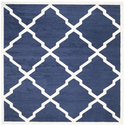 Maritza Navy/Beige Indoor/Outdoor Woven Area Rug Rug Size: Square 7