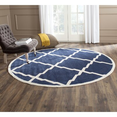 Maritza Navy/Beige Indoor/Outdoor Woven Area Rug Rug Size: Round 7