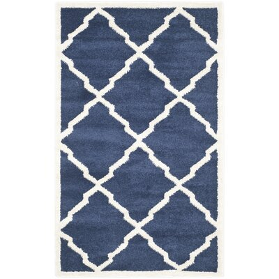 Maritza Navy/Beige Indoor/Outdoor Woven Area Rug Rug Size: 10 x 14