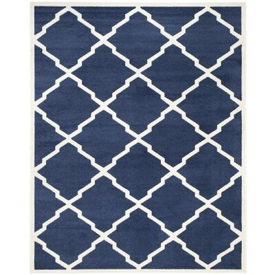 Maritza Navy/Beige Indoor/Outdoor Woven Area Rug Rug Size: Rectangle 26 x 4