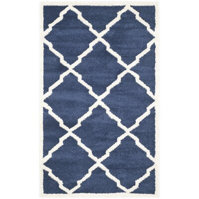 Maritza Navy/Beige Indoor/Outdoor Woven Area Rug Rug Size: 4 x 6