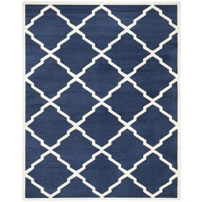 Maritza Navy/Beige Indoor/Outdoor Woven Area Rug Rug Size: 9 x 12