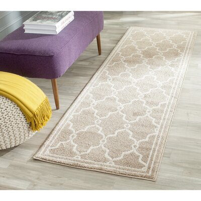 Maritza Geometric Wheat/Beige Indoor/Outdoor Area Rug Rug Size: Runner 23 x 9