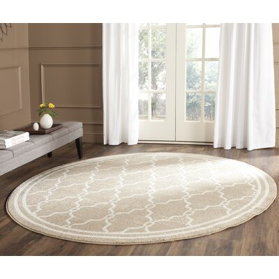 Maritza Geometric Wheat/Beige Indoor/Outdoor Area Rug Rug Size: Round 7
