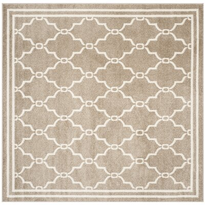 Maritza Geometric Wheat/Beige Indoor/Outdoor Area Rug Rug Size: Square 7