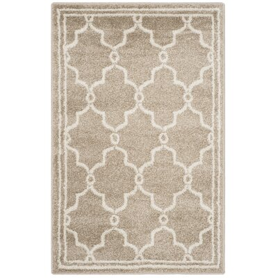 Maritza Geometric Wheat/Beige Indoor/Outdoor Area Rug Rug Size: 3 x 5