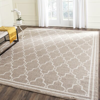 Maritza Geometric Wheat/Beige Indoor/Outdoor Area Rug Rug Size: 10 x 14